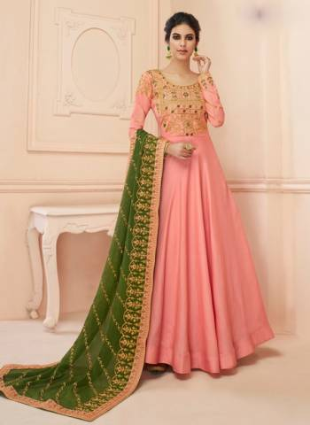 Tussar Silk Wedding Gown Style Anarkali In Pink Color