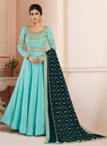 Tussar Silk Wedding Gown Style Anarkali In Turquoise Color