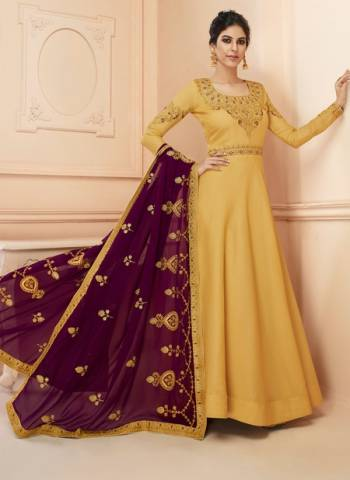 Tussar Silk Wedding Gown Style Anarkali In Yellow Color