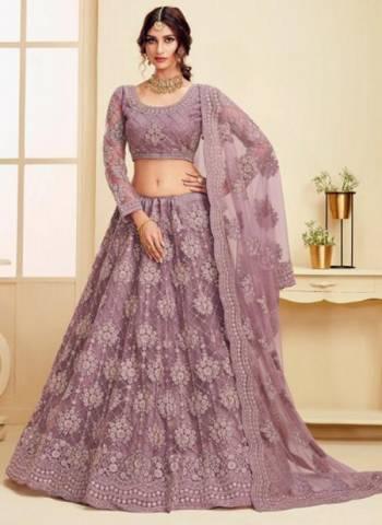 Violet Net Wedding Wear Embroidery Work Lehenga Choli