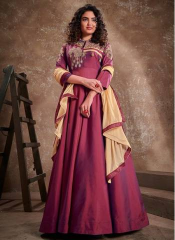 Violet Silk Party Wear Fancy Embroidery Work Gown With Dupatta
