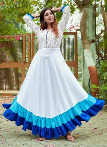 White Blue Rayon Party Wear Foil Printed Gown