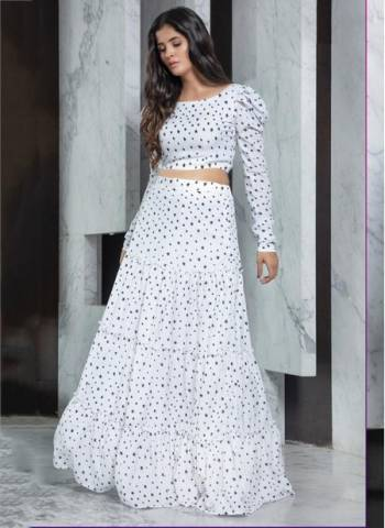 White Rayon Party Wear Designer Fancy Printed Work Top With Skirt