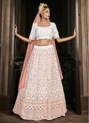 White Georgette Bridal Wear Stylish Embroidery Work Lehenga Choli