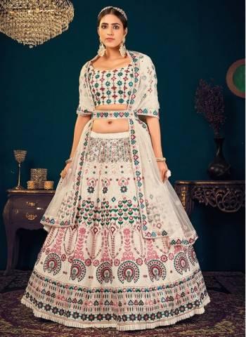 White Georgette Reception Wear Thread Work Wedding Lehenga Choli