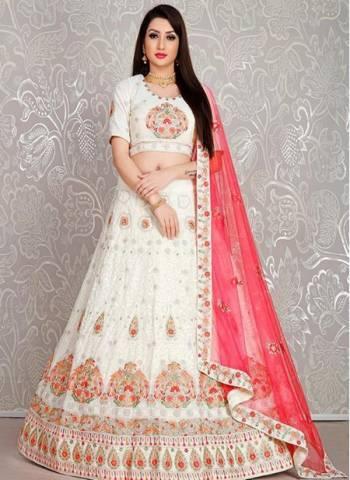 White Georgette Sangeet Wear Designer Thread Work Lehenga Choli
