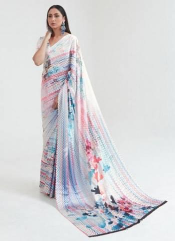 White Japan Satin Casual Wear Digital Printed Saree