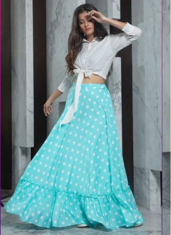 White Crepe Party Wear Designer Fancy Printed Work Top With Skirt