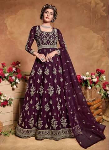 Wine Net Reception Wear Designer Embroidery Work Anarkali Suit