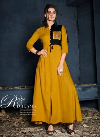 Yellow Rayon Party Wear Embroidered Designer Kurti