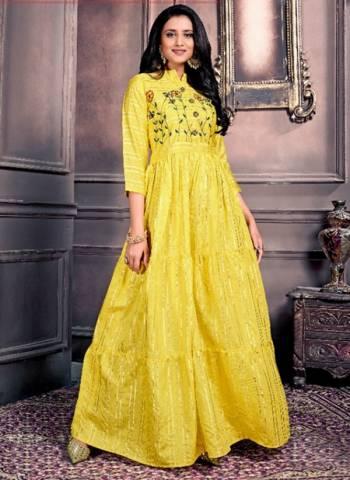 Yellow Chanderi Party Wear Hand Work Long Kurtis