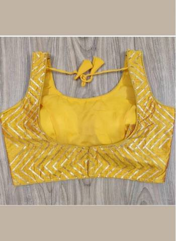 Yellow Phantom Silk Party Wear New Sequins Work Blouse