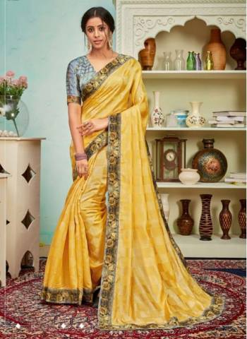 Yellow Polyster Silk Party Wear Designer Digital Border Work Saree