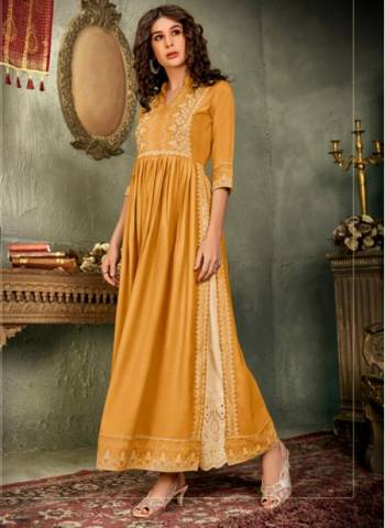 Yellow Pure Rayon Traditional Wear Designer Hand Work Kurti With Pant