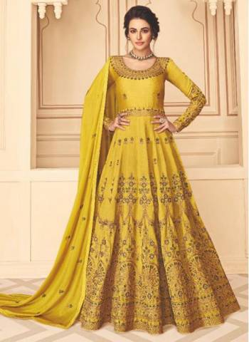 Yellow Pure Silk Festival Wear Designer Embroidery Work Anarkali Suit