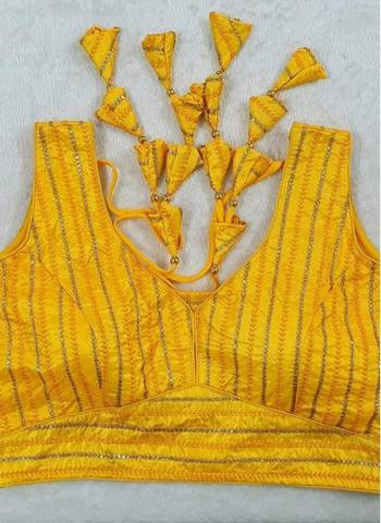 Yellow Pure Fancy Silk Party Wear Sequins Work Blouse