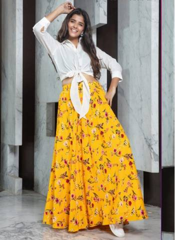 Yellow Rayon Party Wear Designer Fancy Printed Work Top With Skirt