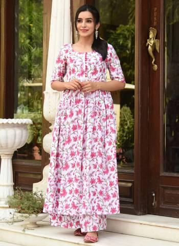 Muslin White And Pink Digital Print Work Casual Wear Palazzo Kurti