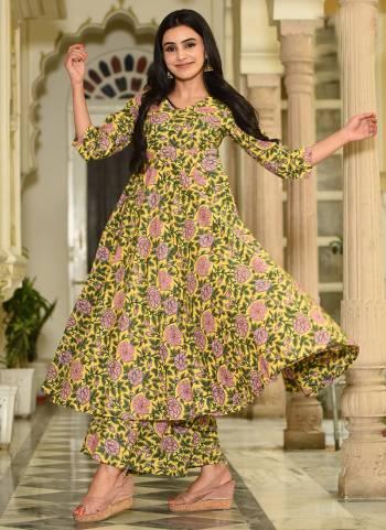 Muslin Yellow Digital Print Work Casual Wear Palazzo Kurti