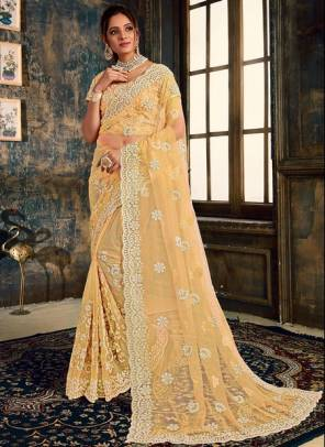 Beige Net Party Wear Designer Zarkan Work Saree