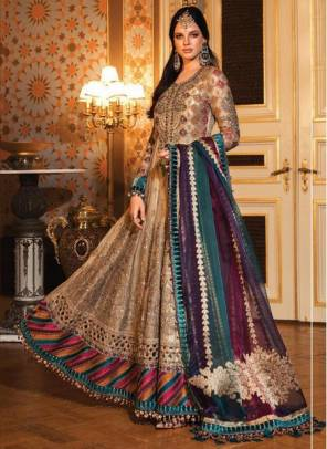 Brown Organza Wedding Wear Designer Heavy Embroidery Work Pakistani Suit