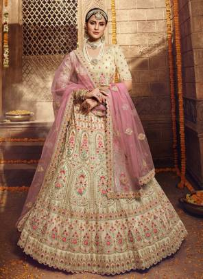 Cream Organza Bridal Wear Zari Work Designer Lehenga Choli