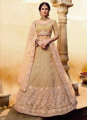 Golden Silk Bridal Wear Zari Work Designer Lehenga Choli