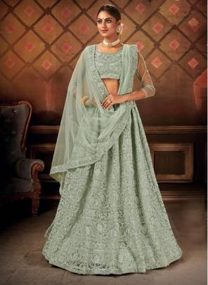 Green Net Party Wear Designer Embroidery Work Lehenga Choli