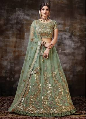 Green Satin Silk Wedding Wear Designer Sequins Work Lehenga Choli