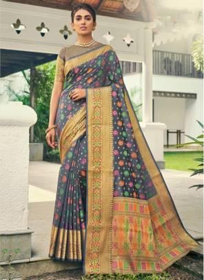 Grey Banarasi Silk Festival Wear Designer Handloom Saree