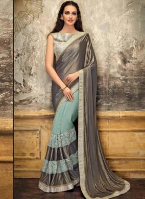 Grey Lycra Party Wear Thread Work Designer Saree