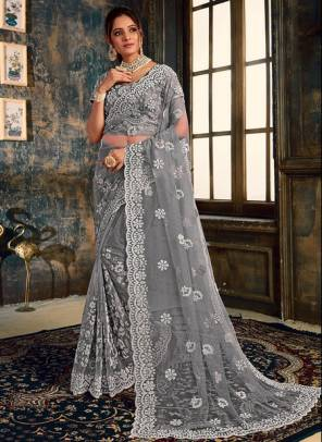 Grey Net Party Wear Designer Zarkan Work Saree