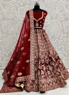Maroon Velvet Wedding Wear Designer Sequins Work Lehenga Choli