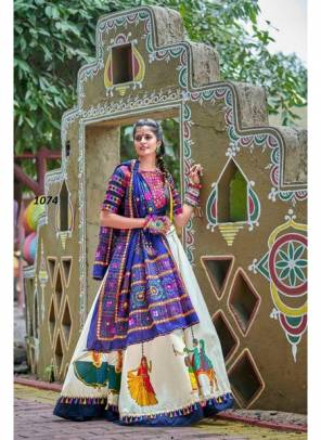 Navy Blue & Off White Soft Cotton Embroidery Work Lehenga