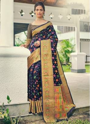 Navy Blue Banarasi Silk Festival Wear Designer Handloom Saree