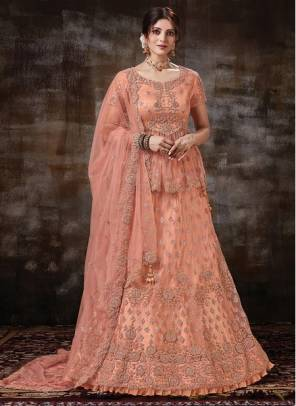 Peach Net Wedding Wear Designer Embroidery Work Lehenga Choli