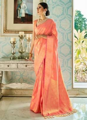 Peach Sana Silk Festival Wear Weaving Saree