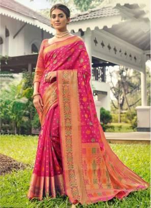 Pink Banarasi Silk Festival Wear Designer Handloom Saree
