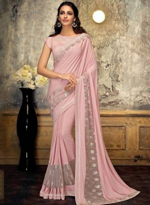 Pink Lycra Party Wear Embroidery Work Designer Saree