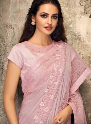 Pink Net Party Wear Embroidery Work Designer Saree