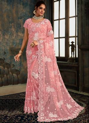 Pink Net Party Wear Designer Zarkan Work Saree
