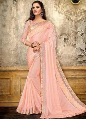 Pink Satin Party Wear Thread Work Designer Saree