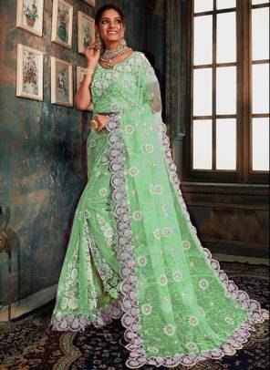 Pista Green Net Party Wear Designer Zarkan Work Saree