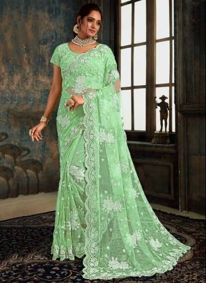 Pista Green Net Party Wear Designer Zarkan Work Saree