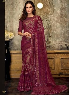 Purple Lycra Party Wear Thread Work Designer Saree
