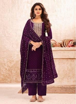 Purple Real Georgette Festival Wear Designer Embroidery Work Straight Suit