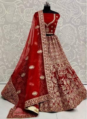 Rani Velvet Wedding Wear Designer Sequins Work Lehenga Choli