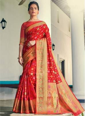 Red Banarasi Silk Festival Wear Designer Handloom Saree