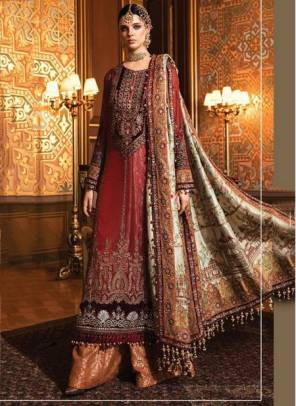 Red Net Wedding Wear Designer Heavy Embroidery Work Pakistani Suit