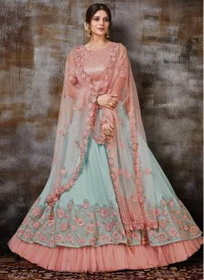 Sky Blue Georgette Silk Wedding Wear Designer Resham Work Lehenga Choli